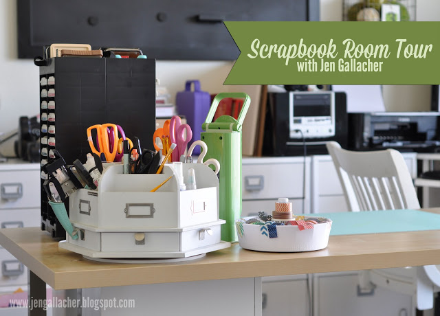 Scrapbook and Craft Room Tour with designer Jen Gallacher. Click here to watch the video tour: https://youtu.be/F0tBqXejGxo