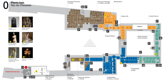 Plano de una de las plantas del museo del Louvre