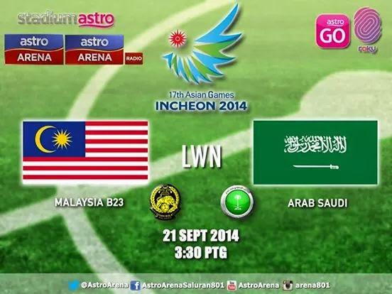 siaran langsung Malaysia vs arab saudi 21 september 2014