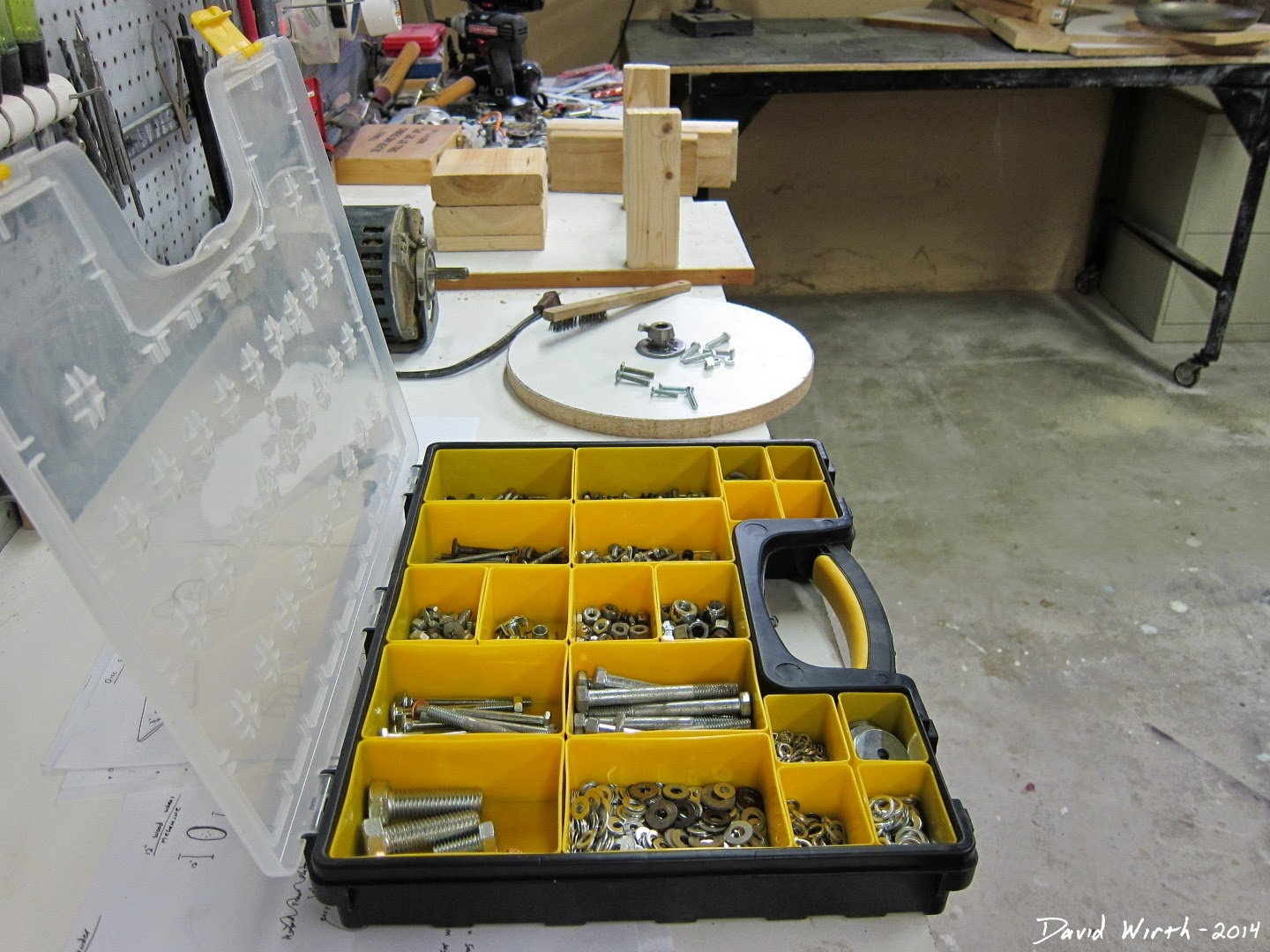 organize bolts, washers, nuts, parts, cases