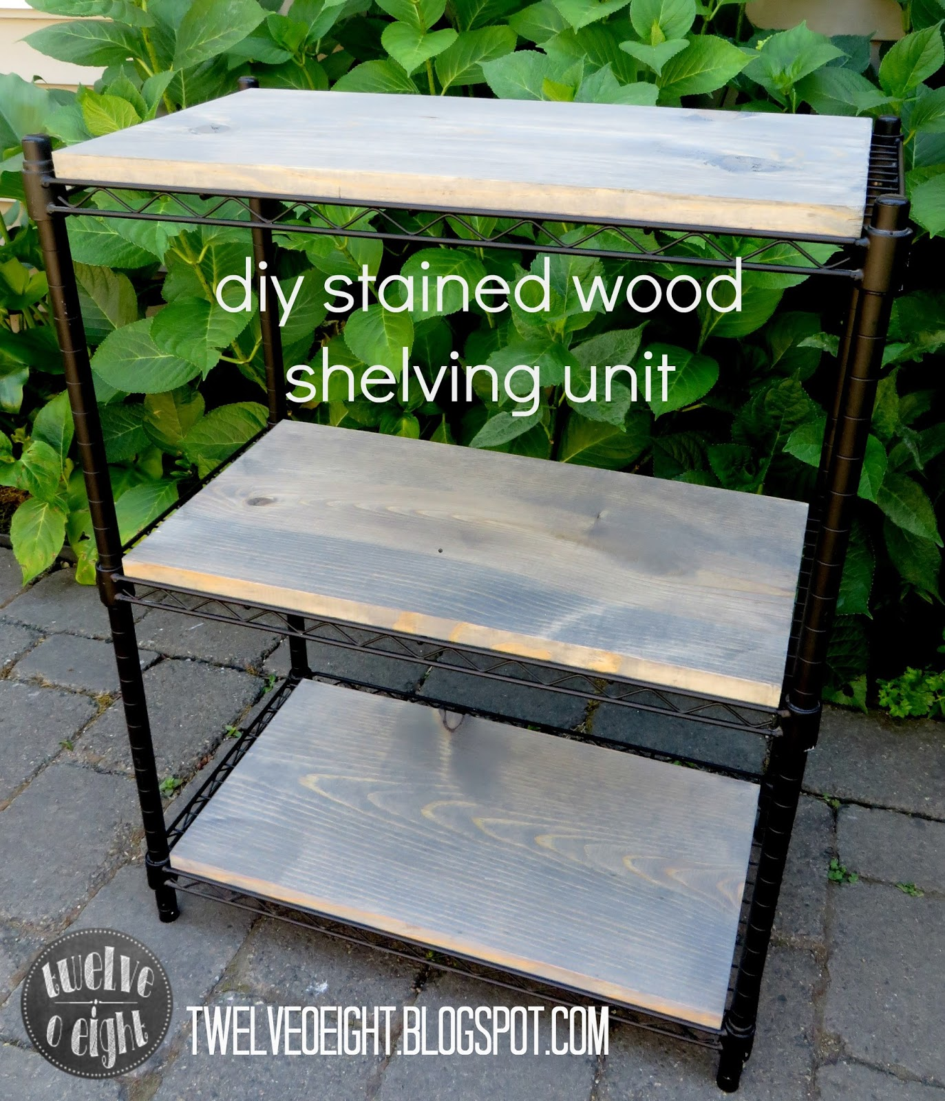 DIY Stained Wood Shelving Unit {Laundry Room Progress}