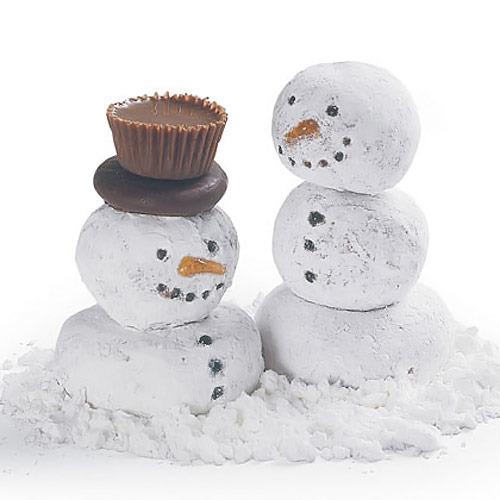 Muñeco de nieve de donuts o donettes