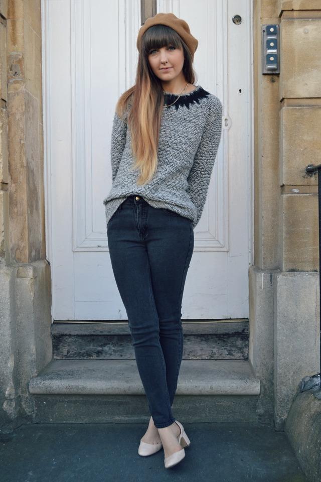 vintage jeans whistles jumper h&m beret