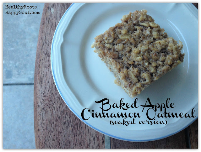Baked apple cinnamon oatmeal that has been previously soaked to enhance