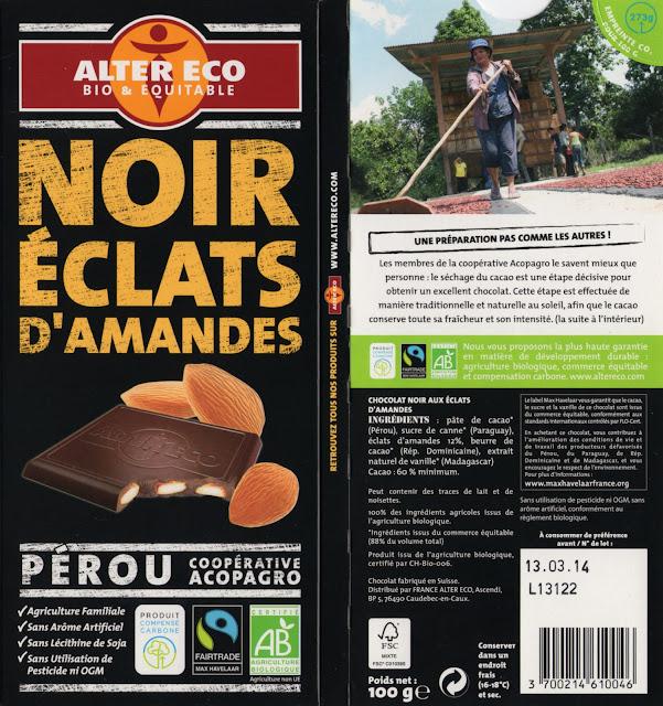 tablette de chocolat noir gourmand alter eco pérou noir eclats d'amandes