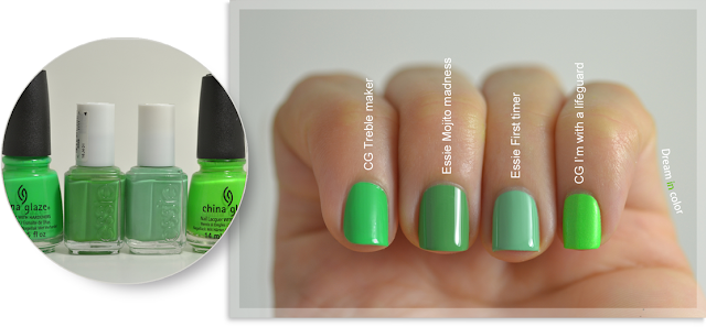 China Glaze Treble maker-Essie Mojito madness-First timer-I'm with a lifeguard