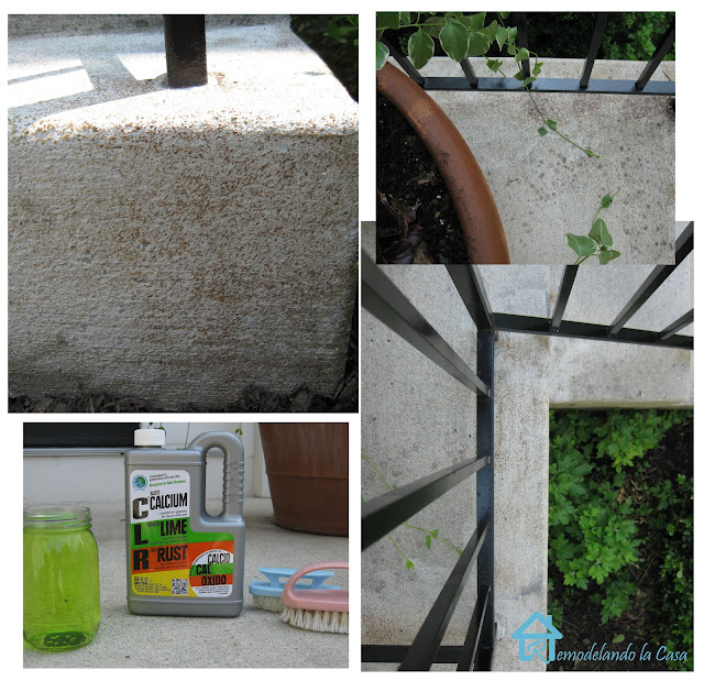 how to use CLR to remove rust on concrete