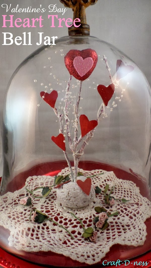 Valentine's Day Heart Tree Bell Jar aka Glass Dome
