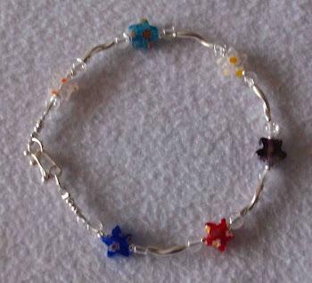 Pulsera cristales estrellas de colores y plata 950  Cod 2316  S/ 45.00 nuevos soles