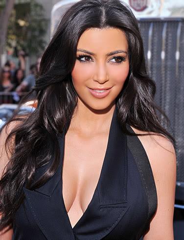 Kim Kardashian in black loose top