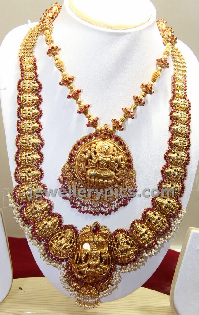 Heavy Temple Bridal Jewellery Lakshmi Haram Deisgn