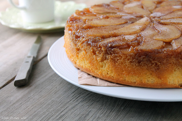 Spiced Pear Upside Down Cake - a delicious and simple Fall dessert that will really WOW friends and family! at LoveGrowsWild.com #fall #dessert #cake #pear