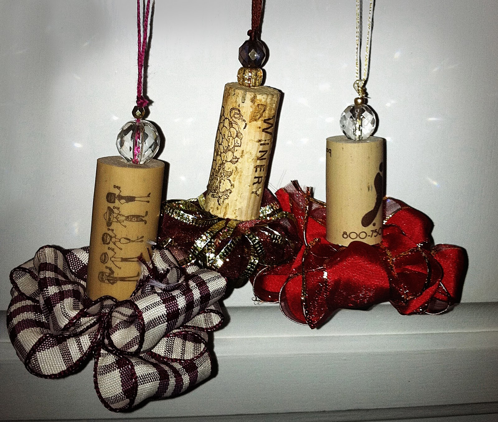 Ornaments made from wine corks - I Was Able To Make These Recycled Wine Cork Ornaments To Commemorate Some Special Moments With My Kathy My Mikey And My Denise
