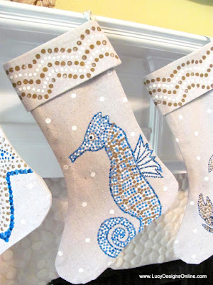 seahorse Christmas beach stocking