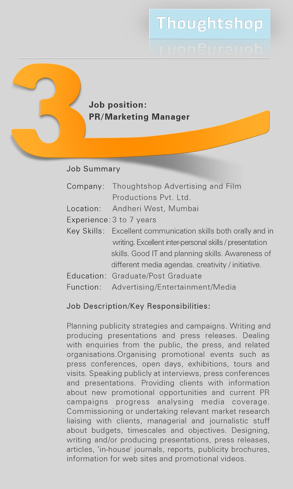 Thoughtshop Advertising U0026 Film Productions PVT LTD Requires In Mumbai. PR/  Marketing Manager