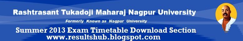 Nagpur university summer 2013 timetable for Rtmnu time table 4th sem