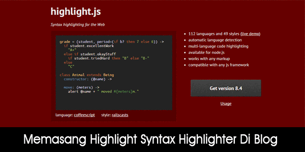 Memasang Highlight.js Syntax Highlighter Di Blog