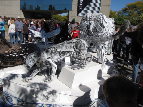 mountain lion sculpture made from recycled junk
