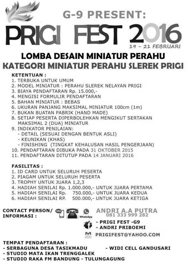 Informasi Pendaftaran Prigi Fest