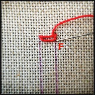 Broderisting tutorial. Vejledning med billeder. Ladder stitch - trin 6
