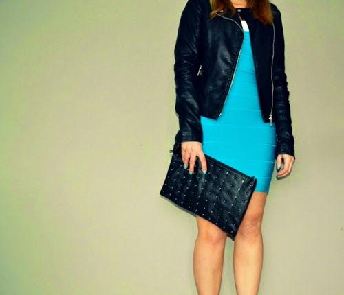 turquoise-bandage-dress-black-clutch
