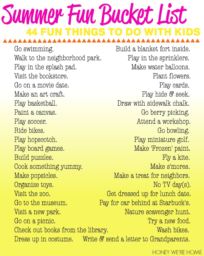 Honey We 39 Re Home Summer Fun Bucket List Fun Things To