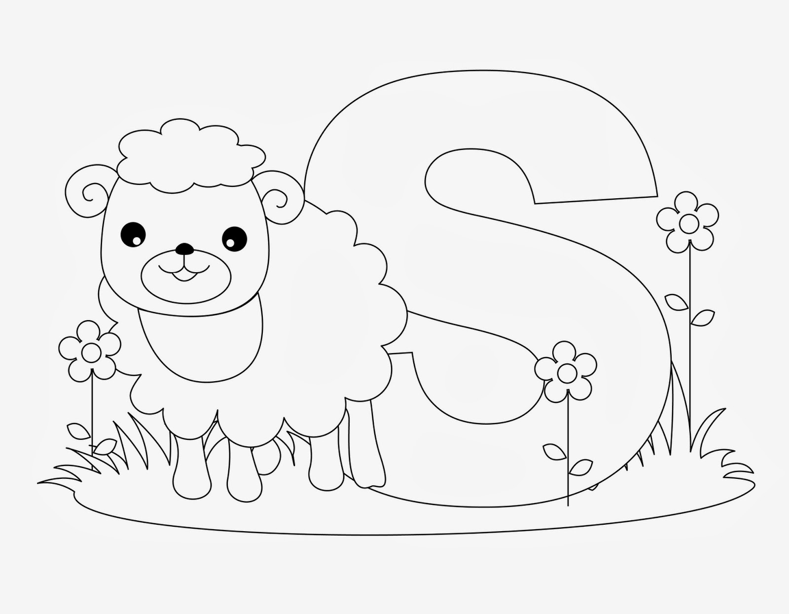 printable Alphabet Coloring Pages Sheep