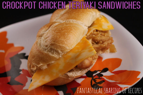 Crockpot Chicken Teriyaki Sandwiches - throw the ingredients in your crockpot during the hot summer for a delicious meal | www.fantasticalsharing.com