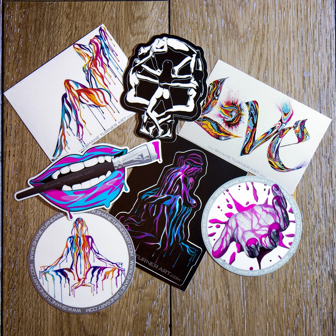 Stickers created using the art and designs of paintings and drawings by Shane Turner. Die-cut, Kiss-Cut, Circle, and Rectangle cmyk full color weather proof stickers.
