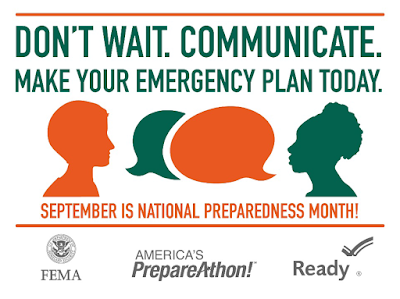 ready.gov poster: Don't wait.  Communicate.  Make your emergency plan today.