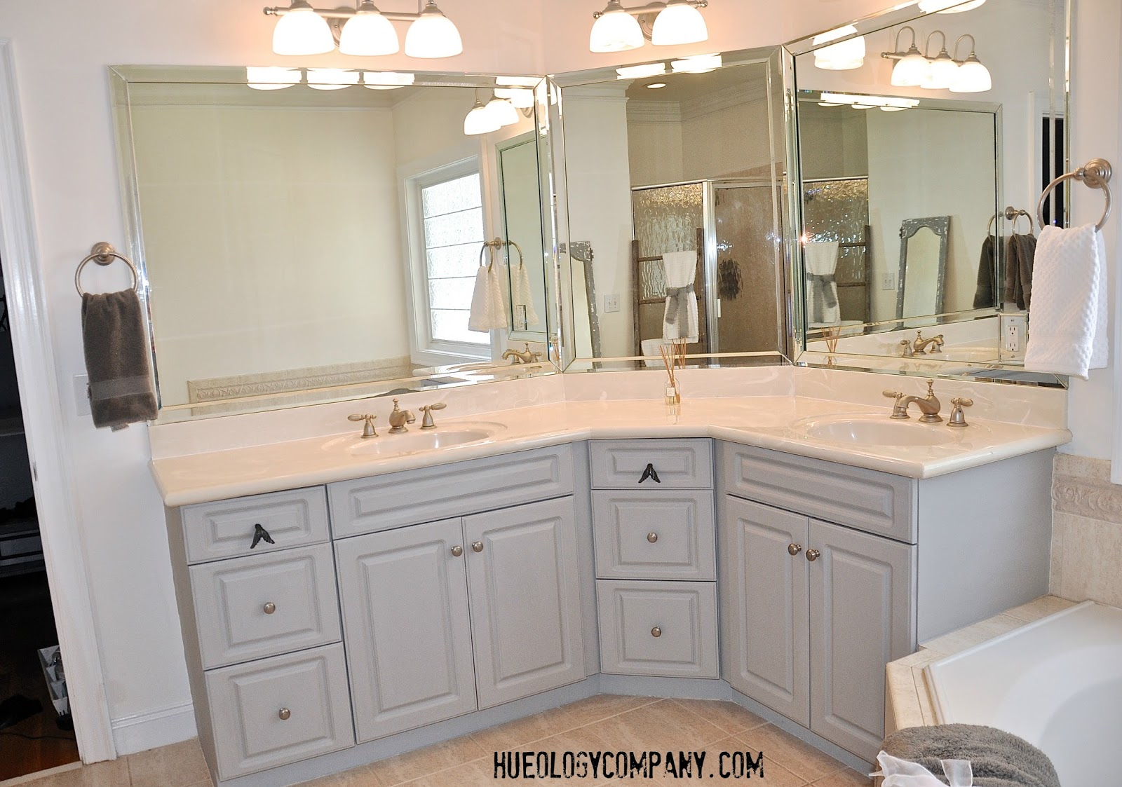Painting Bathroom Cabinets Gray painting bathroom cabinets – master bath makeover | hueology studio