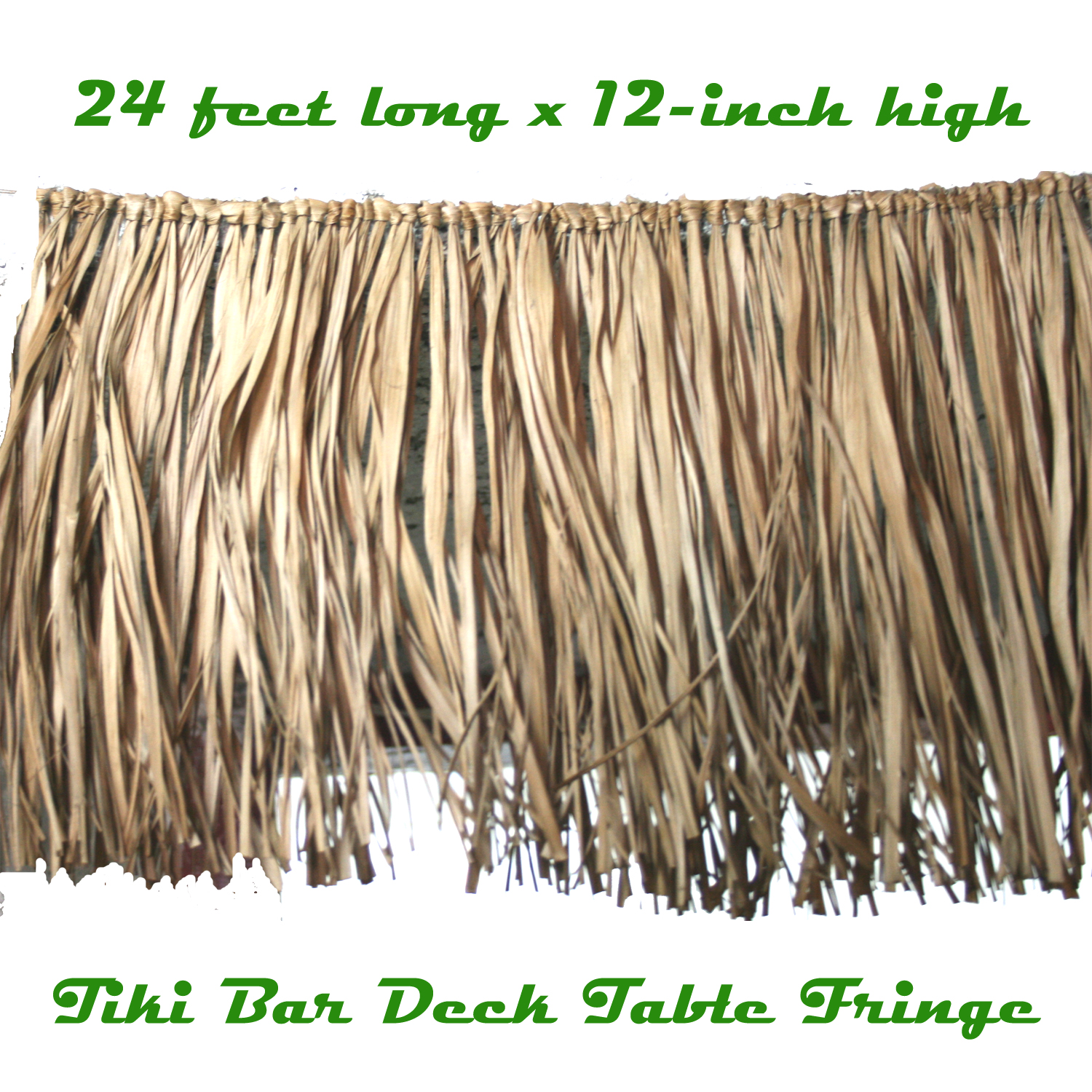 ... RAFFIA DECK FRINGE GARLAND Tropical Tiki Bar Table Skirt Grass Thatch
