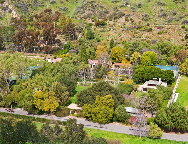 Mel Gibson Celebrity Home, Lavender Farm Hill, Malibu, California as seen from the air