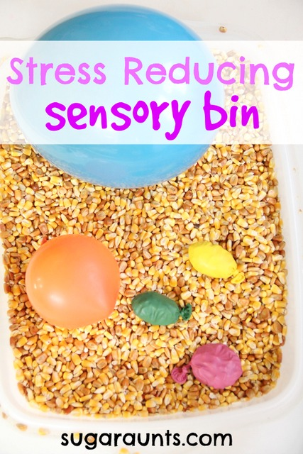 Stress reducing sensory bin with strengthening, fine motor play, and proprioceptive feedback