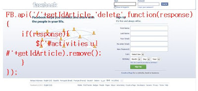 How To Delete An Action of Facebook With Jquery