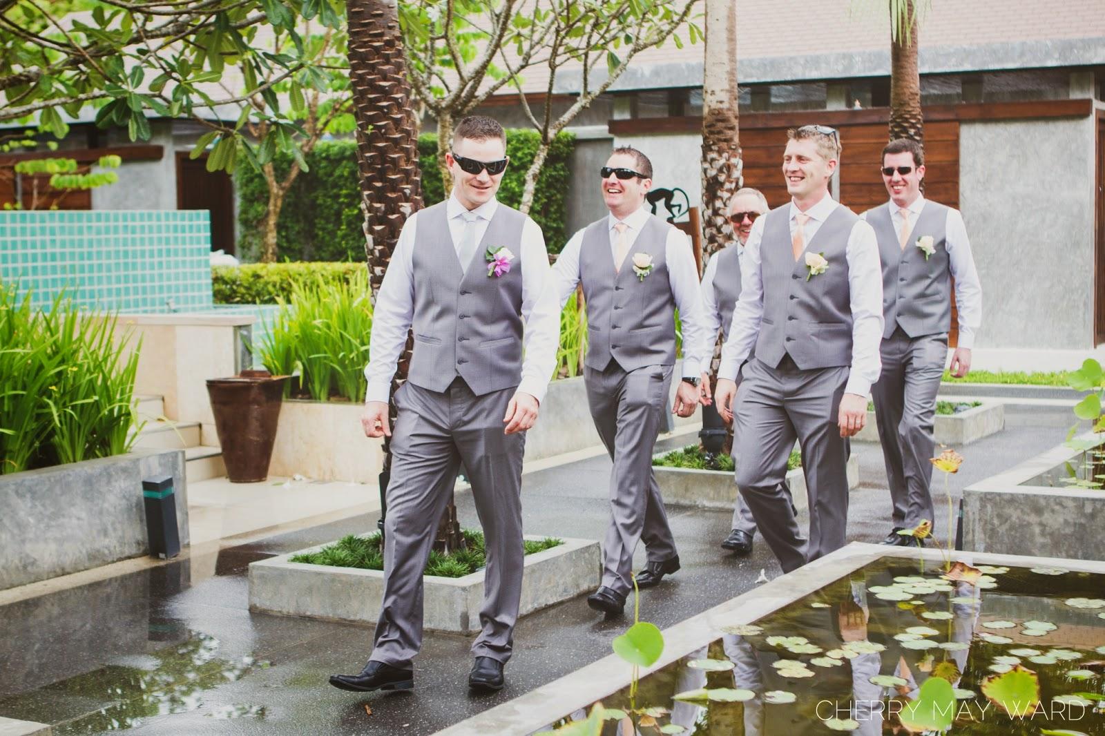Groom and his friends, bridal party portraits, Koh Samui wedding, Thailand wedding photographer