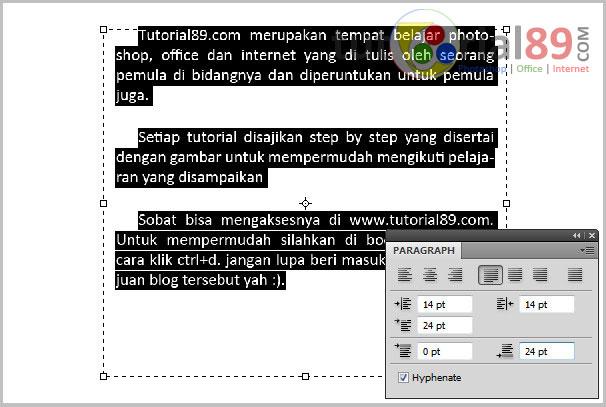 Cara mengatur paragraph di photoshop