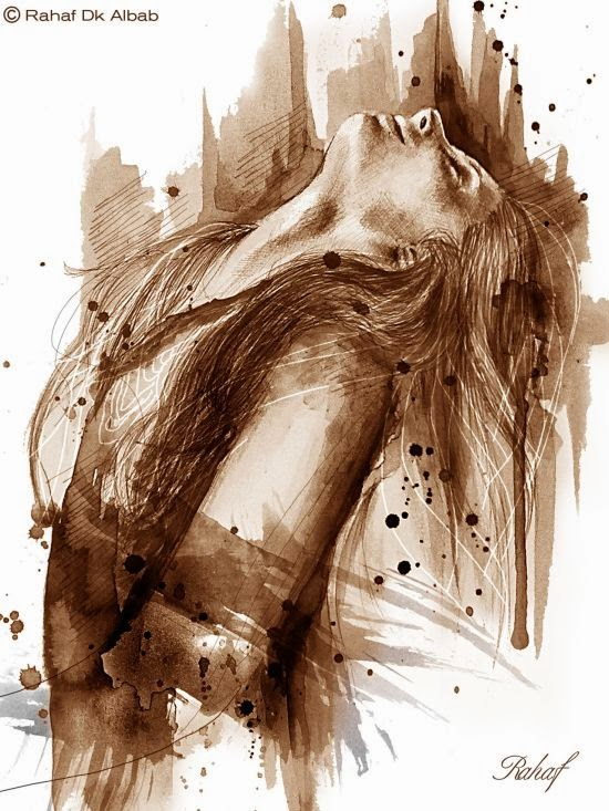 Rahaf Dk Albab digital illustrations watercolor paintings women birds