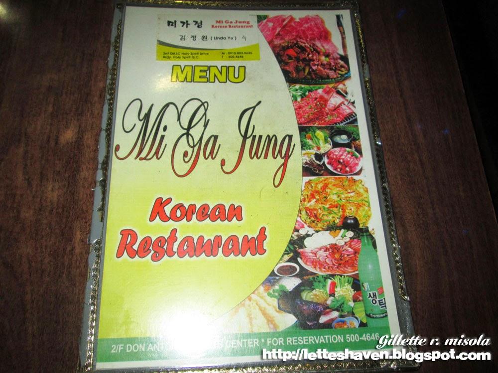 Mi Ga Jung Menu