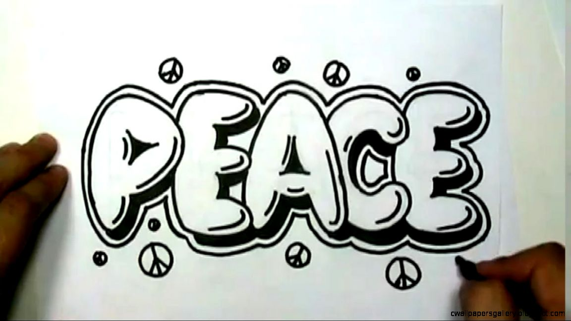 How to draw PEACE in Graffiti Letters   Write Peace in Bubble