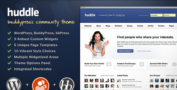 Huddle - WordPress &amp; BuddyPress Community Theme Free Download.