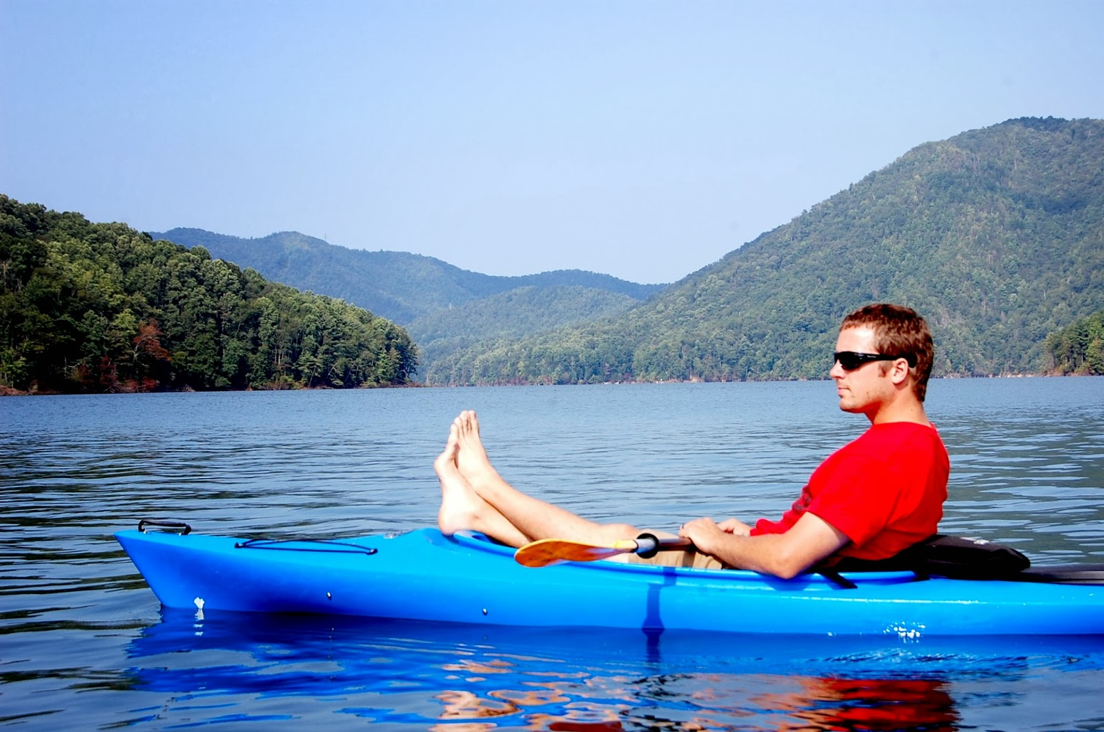 lake, summer, kayak, relax, fishing