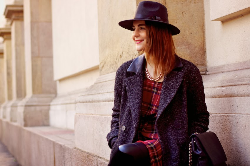 tartan dress + grey double breasted coat with leather inserts