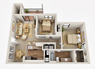 Departamentos peque os planos y dise o en 3d construye for Se puede dividir un piso en dos