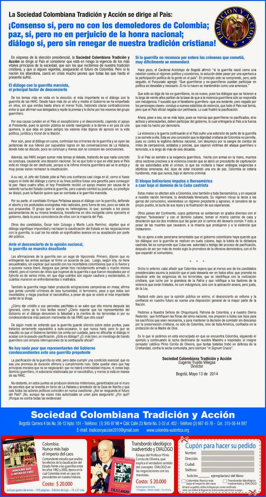 """Manifesto de """"Tradición y Acción"""" publicado no """"El Tiempo"""" em 21 de maio"""