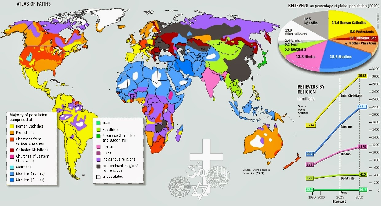 isopleth maps differentiate areas of measure by contour lines on the map this isopleth map shows major religions around the world