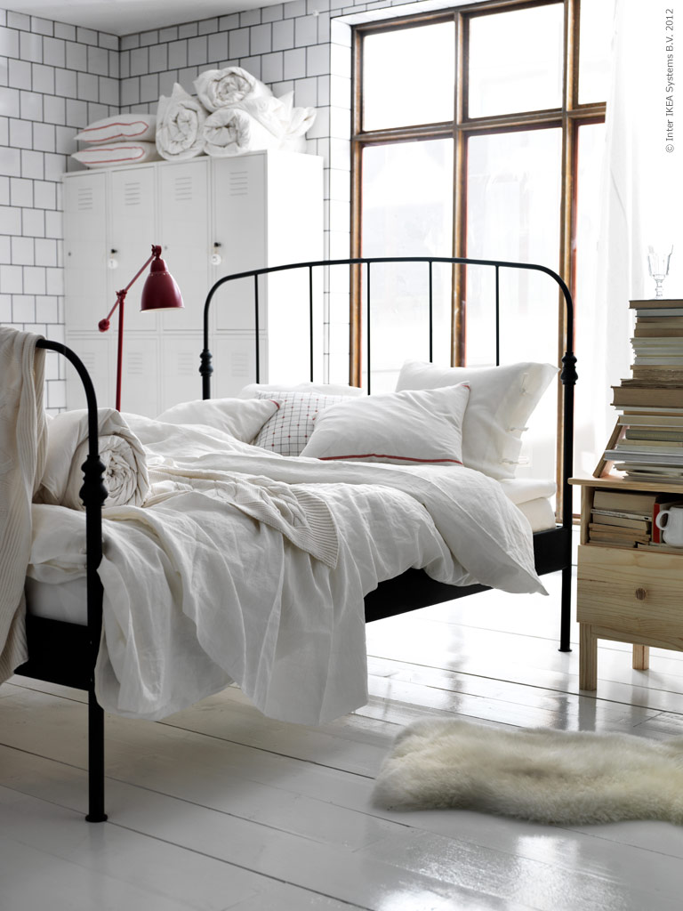 Simple details ikea barometer floor and work lamp for Black bed bedroom ideas