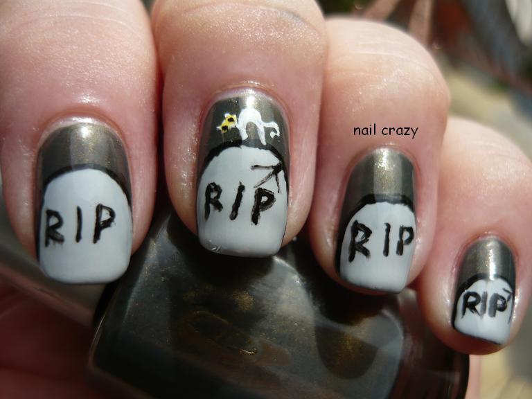 Nail Crazy Halloween Nail Art Challenge Tombstone