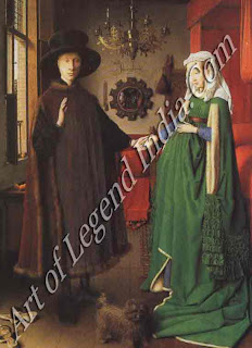 "The Great Artist Van Eyck Painting ""Giovanni Amolfini and his Wife or The Amolfini Wedding"" 1434 32 1/4"" X 231/2"" National Gallery, London"