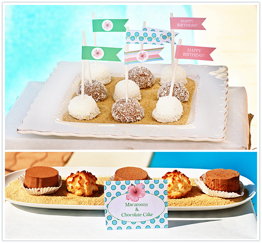 surf pool party straw flags and food label